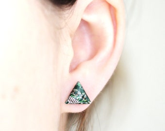 Triangle stud earrings - Circuit board studs - recycled computer - hypoallergenic