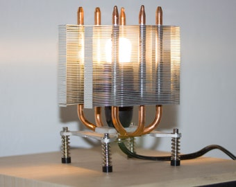 Table lamp made with recycled computer cooler