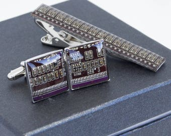 Purple Circuit board CuffLinks and Tie Clip set, gift for computer geek