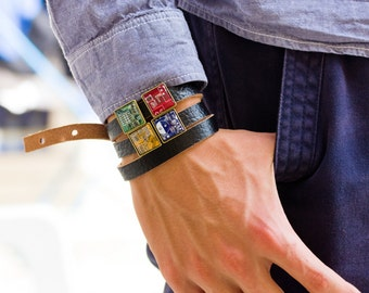 Wrap leather bracelet - customizable bracelet with circuit board beads (resin covered)