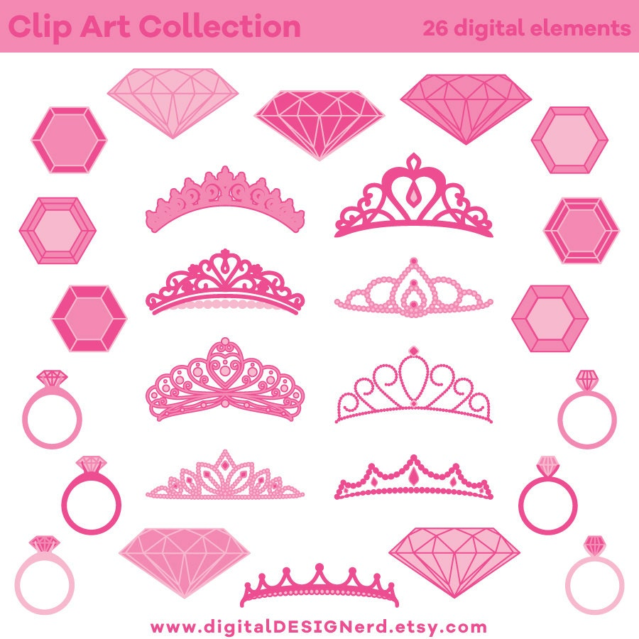 Clip Art Princess Jewelry Pink 26 Digital Scrapbook   Etsy