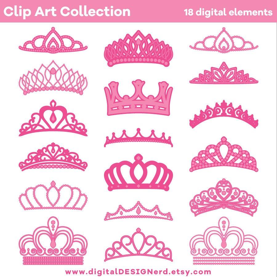Clip Art Crowns & Tiaras Pink 18 Digital Scrapbook Elements   Etsy