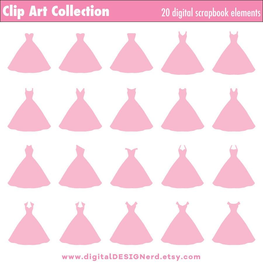 Vestidos de Novia de princesa rosa de luz (Digital 20 Clip Art ...