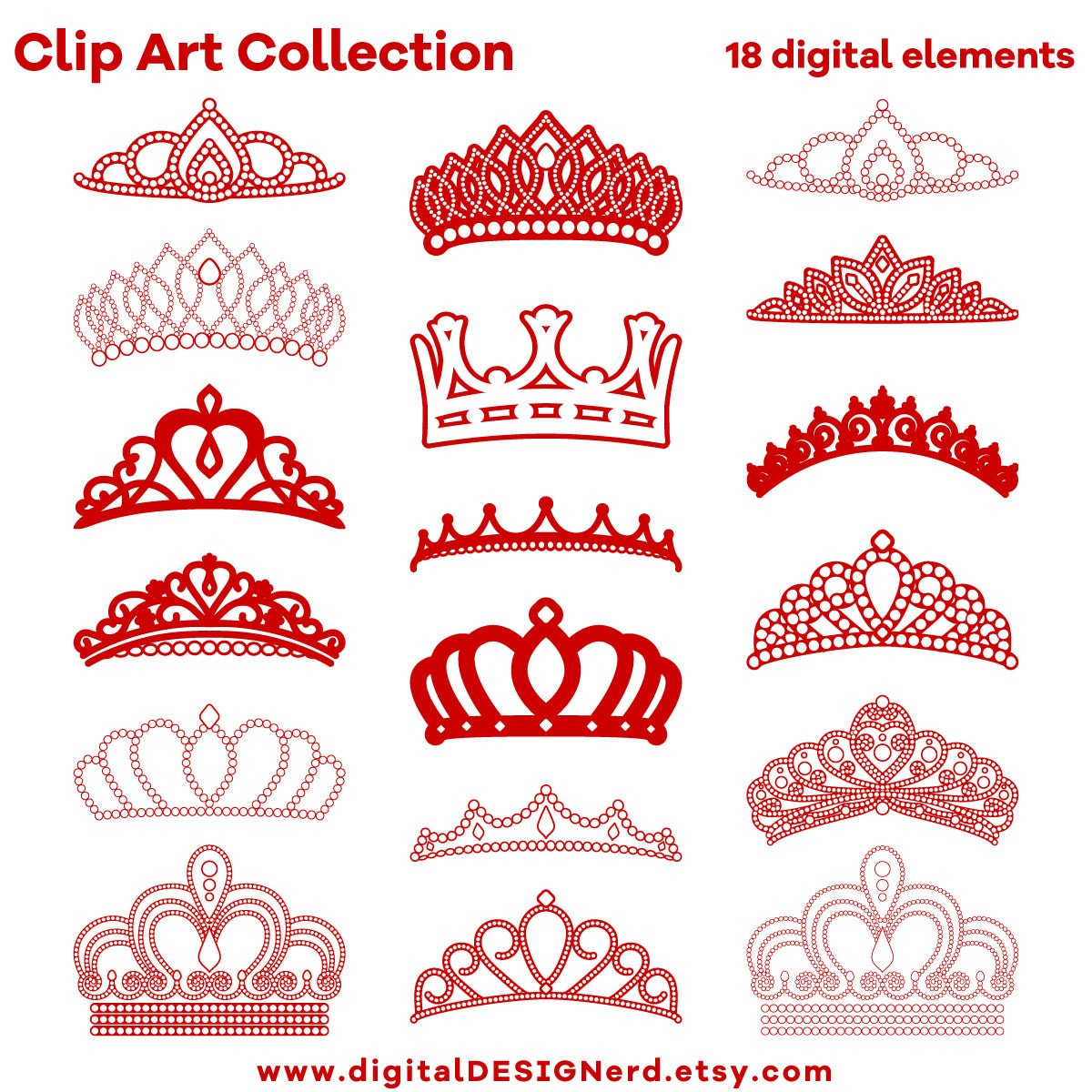 Clip Art Crowns & Tiaras Red and White 18 Digital Scrapbook   Etsy