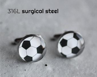 Soccer ball cufflink Sport cufflink Ball cufflink Surgical steel cuff link weddig cufflink