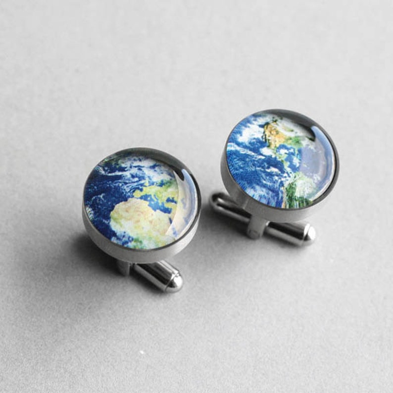 groomsmen groom mens cufflinks Stainless steel cuff link wedding cufflinks gift for him Planet cufflinks Planet Earth cufflinks
