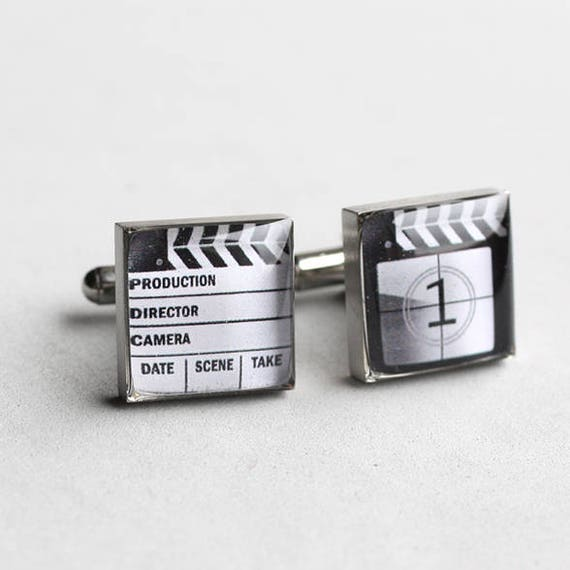 Director Hollywood Cuff Links Gift Boxed Movie Clapper Board Cufflinks
