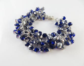 Blue and silver cha cha cluster bracelet