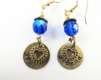Mini hand stamped gramma earrings