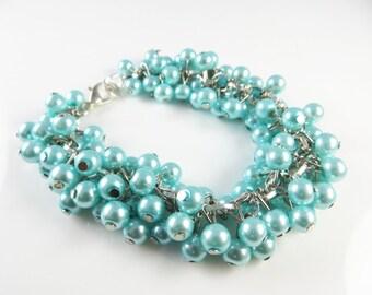 Baby blue cha cha cluster bracelet