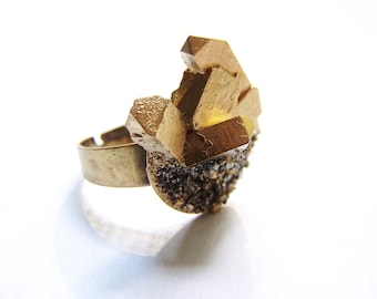 Faux Gold Titanium and Pyrite Ring