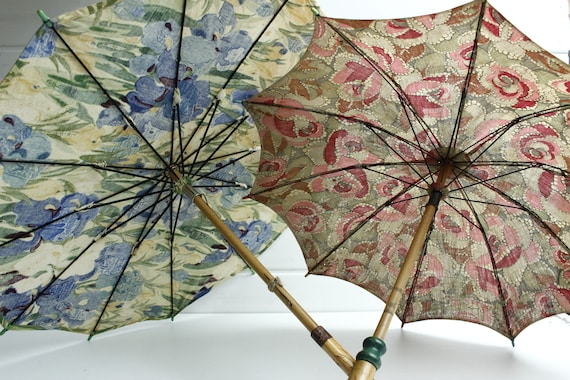 TWO French Cotton Parasols...LOT of Two, One Pink, One Blue Floral Parasols