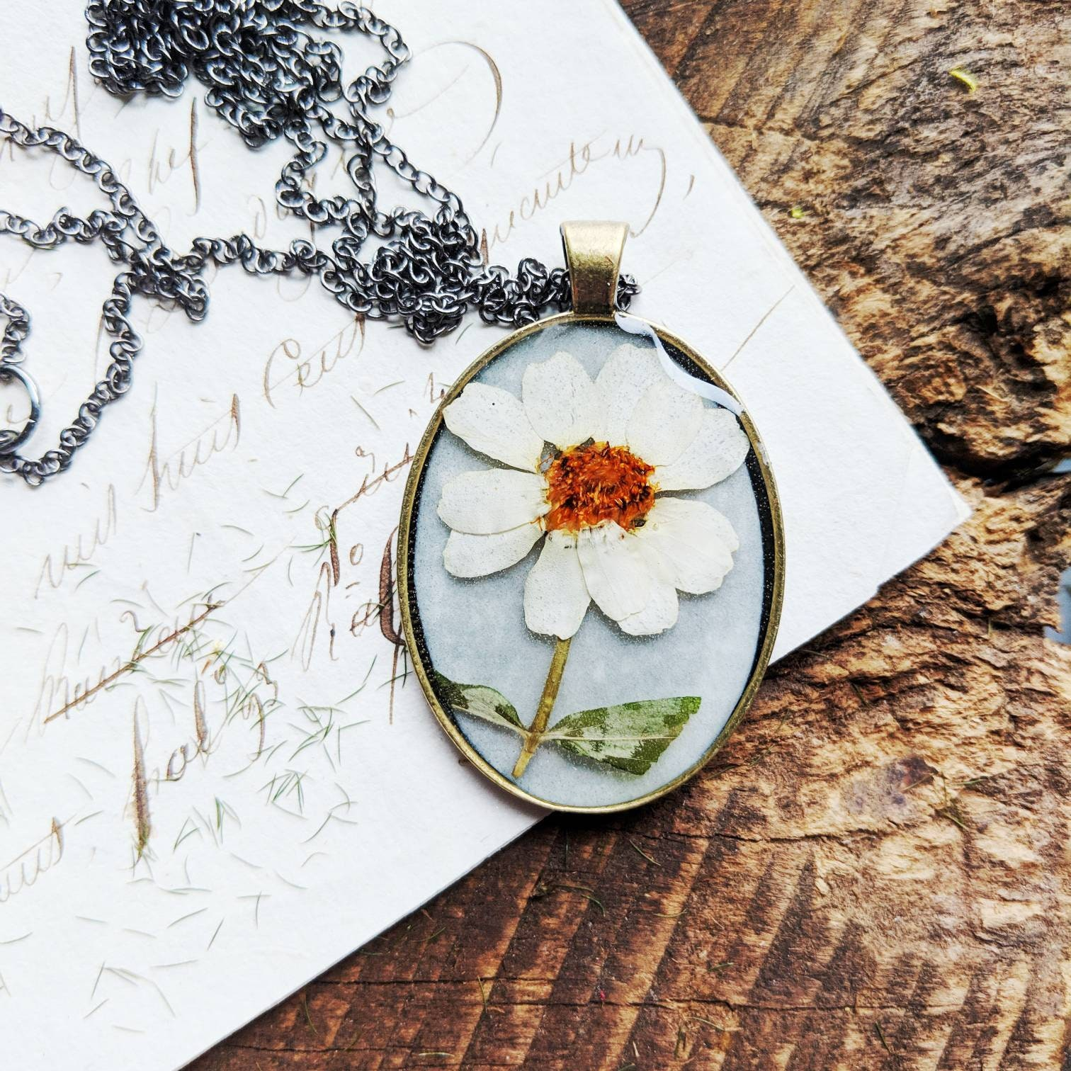 Pressed flower necklace real summer cosmo cream floral fresh fun resin garden preserved nature mothers day gift present brass extra long