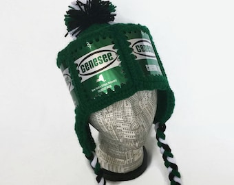 Genesee Hat   Genesee Beer Hat   Genesee Crochet Beer Can Hat   Genesee Beer  Can Hat with Ear Flaps and Pom Pom   Genesee Winter Ski Hat 2d8e9d2e50f3