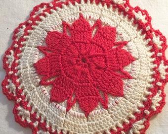 Vintage Crocheted Red & White Potholder