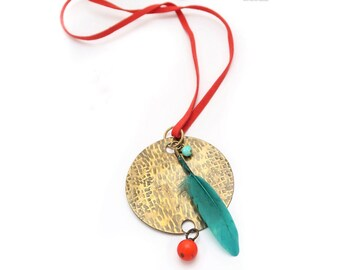Life- Boho necklace, circle pendant, hammered, brass necklace, metalwork, minimal, patina, tribe, unique gift, bohemian.