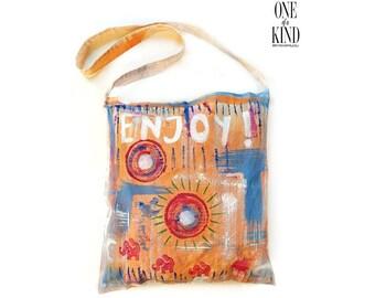 Ηand painted  tote bag, Eco bags, Funky, Textile,  cotton bag, colorful, abstract art, unique gift, fashion accessory, yoga mat.