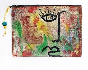 Ηandpainted pouch, canvas, Eco bags, Funky, Textile, Handmade clutch, cotton bag, colorful, abstract art, unique gift, fashion accessory