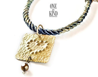 Love- brass pendant,rope necklace,gold pendant,heart pendant,boho jewelry,tag pendant,hammered metal,love pendant,valentines gift