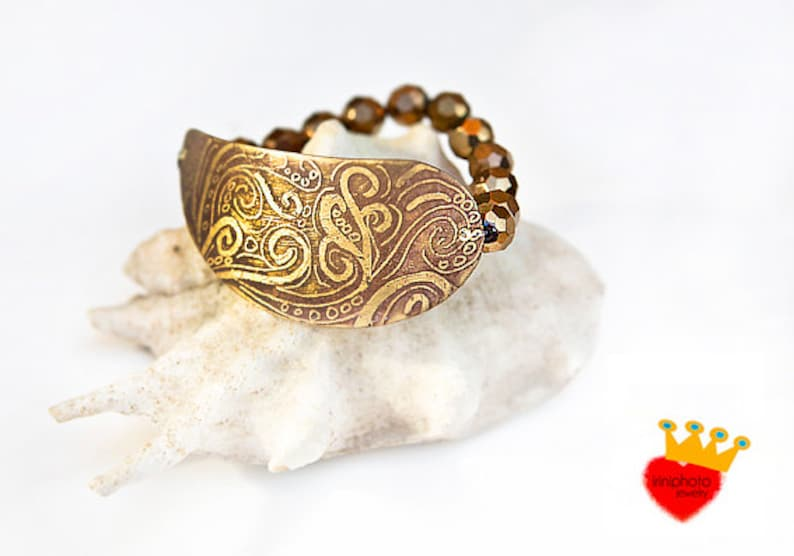 Waves stretch braceletetched jewelrypatina image 0
