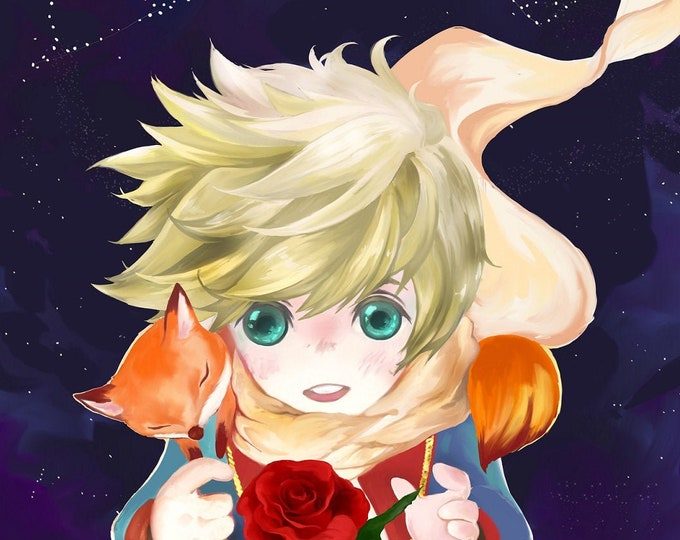 little Prince High Quality Poster Anime Cute Illustration Wall Le Petit Prince Fox