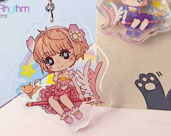 FINAL SALE Card Captor Sakura 2 inches double sided Crystal Clear Acrylic straps charm anime CCS, kero