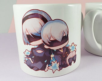 6oz Sublimation Ceramic Mug: Nier Automata 2B 9S game anime
