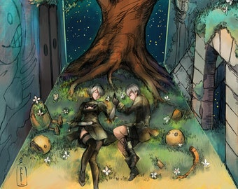 Nier 11x17 Print Poster Automata 2b 9s game inch