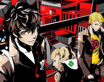 Persona 5 Hideout High Quality Poster Game Yusuke Morgana Ryuji Ann