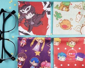 "Anime Game Microfiber Cloth 7""| Eye Glasses | Camera | Screen Cleaner Wipe JOJO Persona 5 Mystic Messenger Fire Emblem Chocobo Diamone HNK"