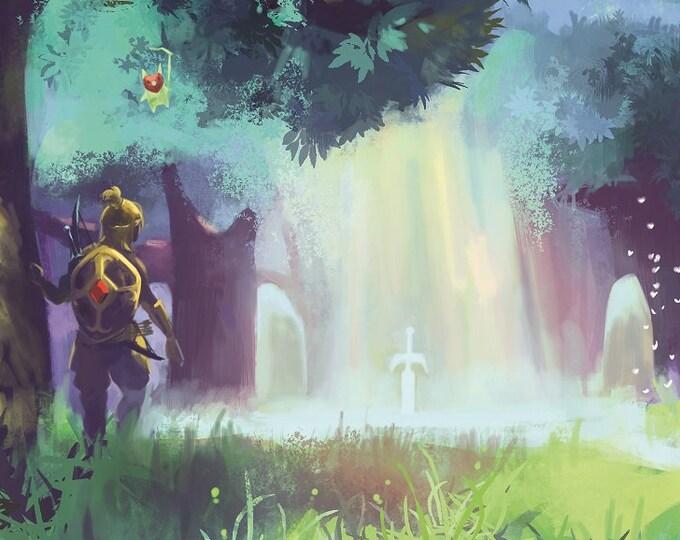 Master Sword BOTW High Quality Poster Breath of the wild Game Nintendo Legend of Zelda Link Print