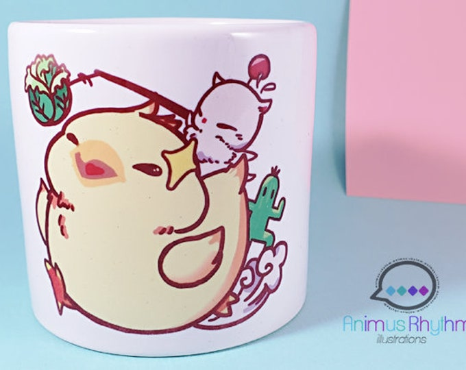 6oz Sublimation Ceramic Mug: Fat Chocobo Final Fantasy Moogle game