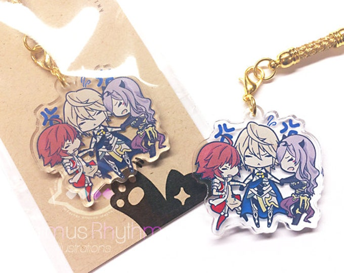 FINAL SALE Crystal Clear Acrylic straps charm: Fire Emblem Fates Hero Hinoka Camilla Corrin Conquest Birthright game