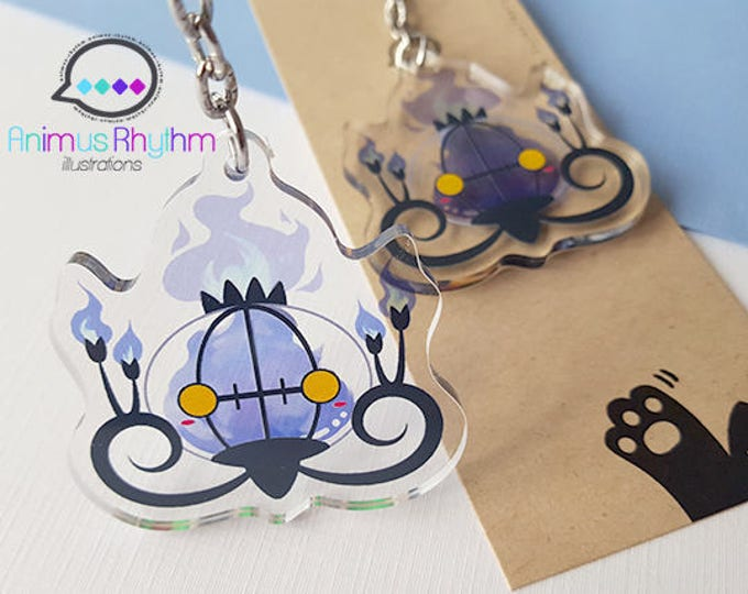 "Pokemon Chandelure 2"" Double Sided Crystal Clear Acrylic straps Keychain Charm"