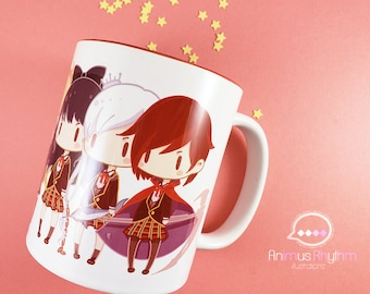 11oz Mini Ceramic Mug: RWBY Ruby Weiss Blake Yang