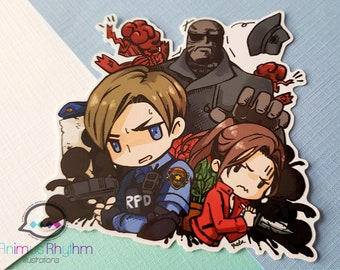 Resident Evil 2 Remake Gloss Vinyl Sticker Leon Claire Mr.X Tofu
