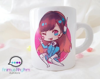 4oz Mini Ceramic Mug: Overwatch D.Va Hana Song game