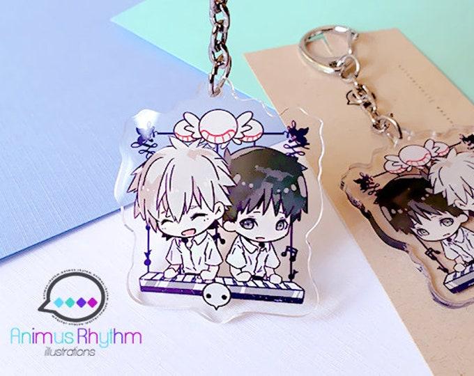 EVA Kaworu and Shinji Acrylic Keychain 2 inches double sided anime