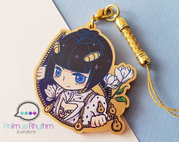Featured listing image: Golden Acrylic strap charm: JoJo Bruno Bucciarati Golden Wind 2in game anime
