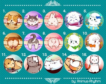 Kawaii Animals Buttons Set 1