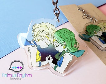 Sailor Uranus and Neptune  Acrylic Keychain 2 inches double sided Sailor moon