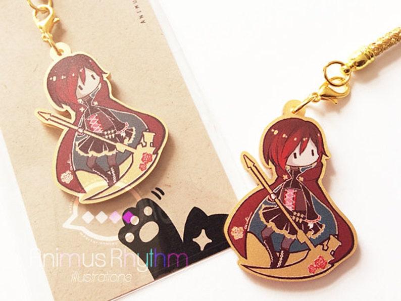Golden Acrylic straps charm: RWBY Ruby Rose Anime image 0