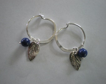 Maine Blueberries Sterling Silver and Lapis Lazuli Hoop Earrings