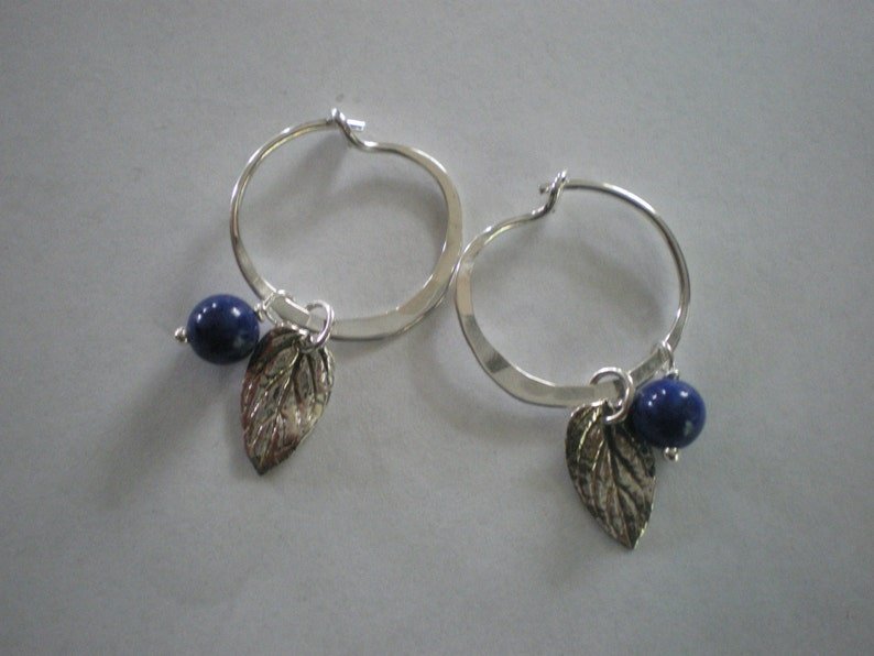 Maine Blueberries Sterling Silver and Lapis Lazuli Hoop image 0
