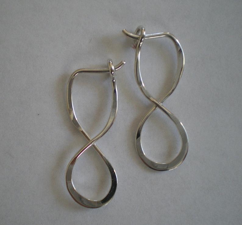 Sterling Silver Figure Eight Infinity Sign Hoop Earrings image 0
