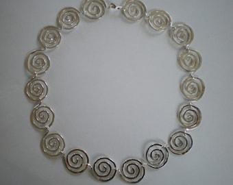 Handmade Sterling Silver Spirals Necklace