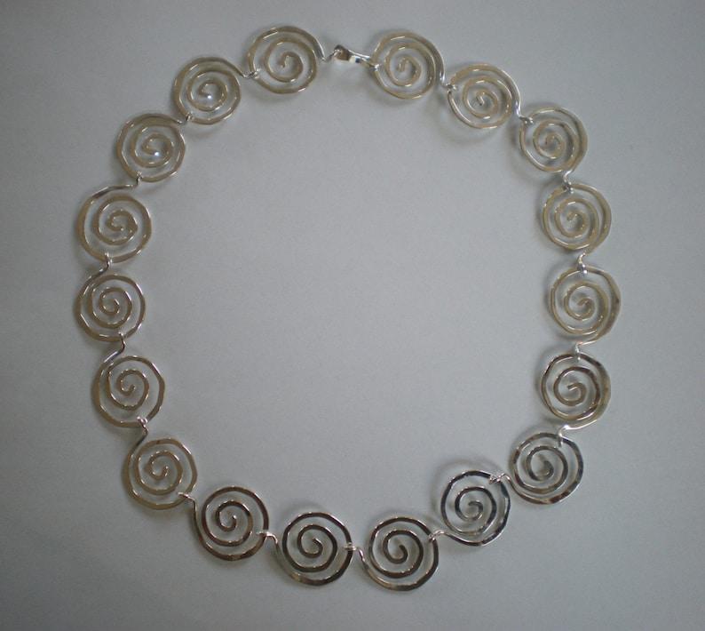 Handmade Sterling Silver Spirals Necklace image 0