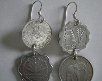 Around the World Coins Earrings--Sterling Silver Ear Wires & Links