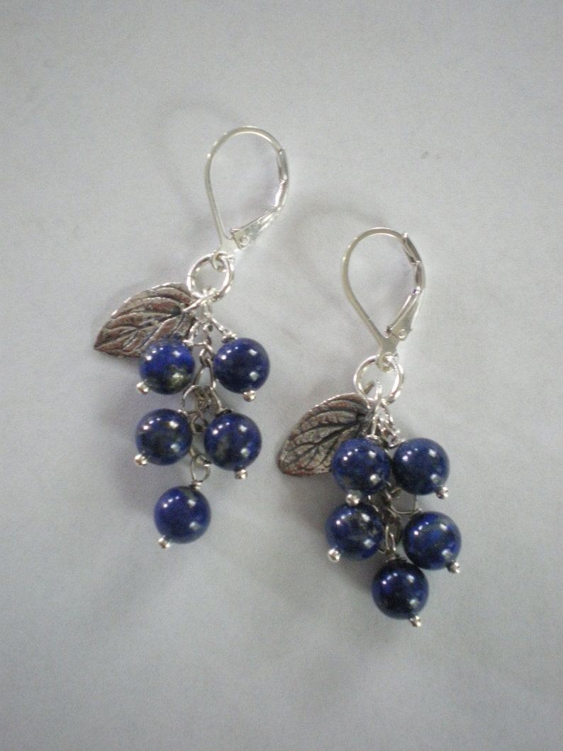 Maine Blueberries Sterling and Lapis Lazuli Earrings image 0
