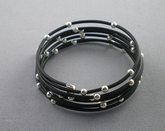 Starry Night Black Rubber and Sterling Silver Memory Wire Bracelet